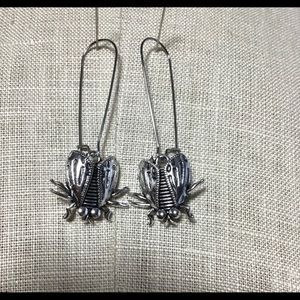 "2.25"" Silver Fly Charm Earrings"